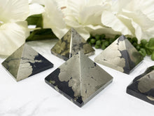 Load image into Gallery: Contempo Crystals - Black and gold pyrite tetrahedron. - Image 5