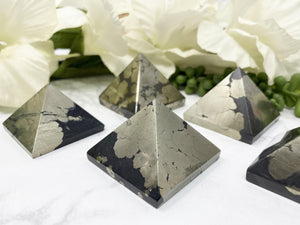 Contempo Crystals - Black and gold pyrite tetrahedron. - Image 4