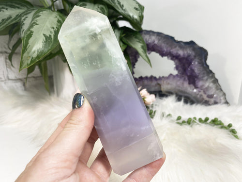 Velvet fluorite crystal point from Brazil. This point has an incredible soft pastel green and purple coloring and overall appearance. There is soft white 'flowering' aka line throughout.