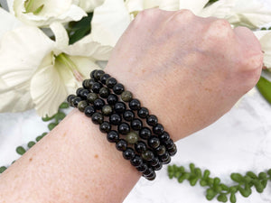 Contempo Crystals - Gold Sheen Obsidian Stretch Mala Bracelet Stacked Up - Image 1