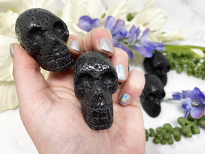 "Contempo Crystals - 2"" Lava stone crystal skulls.  Great for essential oil diffusing. - Image 1"