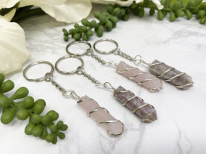 Contempo Crystals - Rose Quartz or Lepidolite Keychain - Image 5