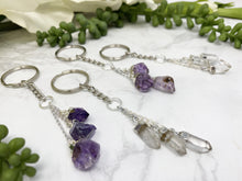 Load image into Gallery: Contempo Crystals - Clear quartz and amethyst crystal keychains. - Image 5