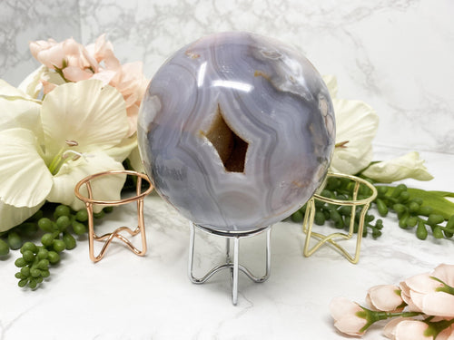 Blue Flower Agate Crystal Sphere in Metal Stand
