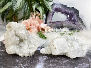 Contempo Crystals - Cute sparkly apophyllite crystal clusters!  Apophyllite helps you to start anew, and clear out past emotional traumas. It is a peaceful stone and one to bring great happiness.  - Image 1