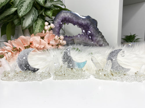 Black and Gray Quartz Crystal Point and Resin Geode Art Displays
