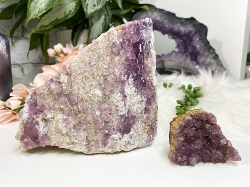 Pink Purple Raw Fluorite Crystal Cluster