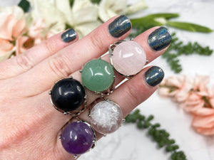 Contempo Crystals - Adjustable Gemstone Rings Just for Fun!  OBSIDIAN ROSE QUARTZ AMETHYST  CLEAR QUARTZ  GREEN AVENTURINE - Image 1