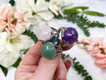 Load image into Gallery: Contempo Crystals - Adjustable Gemstone Rings Just for Fun! Available in Amethyst, Green Aventurine, Rose Quartz, Obsidian, and Clear Quartz - Image 5