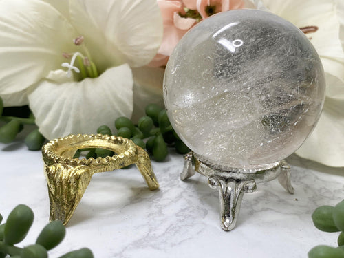 Metal Sphere Stands in Gold and Silver.  Perfect for holder for a quartz sphere.
