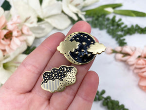 Contempo Crystals - Black and Gold Moon and Cloud Enamel Lapel Pin Set - Image 1