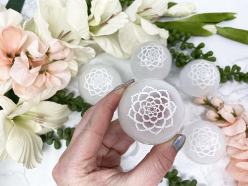 Lotus Flower Carved Selenite Sphere