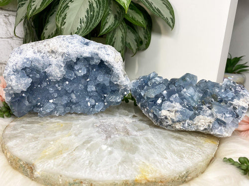 Large Blue Celestite Clusters