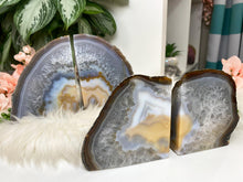 Load image into Gallery: Contempo Crystals - Natural Gray Yellow White Chalcedony Agate Crystal Bookend for Home Decor - Image 1