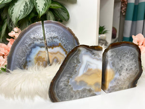 Contempo Crystals - Natural Gray Yellow White Chalcedony Agate Crystal Bookend for Home Decor - Image 1