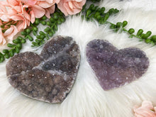 Load image into Gallery: Contempo Crystals - Unique Amethyst Flower crystal hearts. Great raw crystal cluster cut into the heart shape. Protection, purification, and can also help promote a restful night of sleep. - Image 6