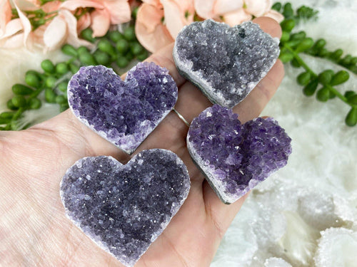 Small Amethyst Hearts