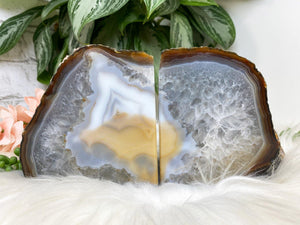 Contempo Crystals - Natural Gray Yellow White Chalcedony Agate Crystal Bookend for Home Decor - Image 5
