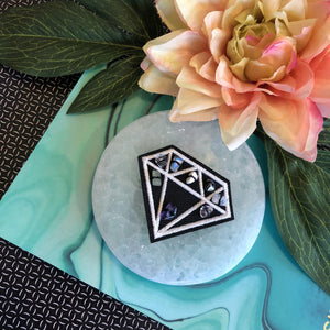 Contempo Crystals - Crystal Sleeping Mask & Selenite Slab Sleeping Mask. Diamond patch on selenite slab - Image 2