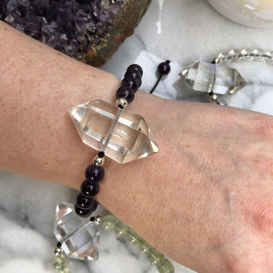 Contempo Crystals - Quartz Point Mala Bracelets. On wrist - Image 3