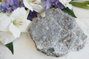 Contempo Crystals - Large Lavender Quartz Plate. Amethyst flower crystal clsuter with purple, almost gray color. Mostly matte, except on the outer parts that feature a little druzy. - Image 1