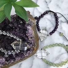 Load image into Gallery: Contempo Crystals - Quartz Point Mala Bracelets featuring a double terminated quartz point full of energy and a drawstring closure. Carry your protective energies everywhere - Image 2