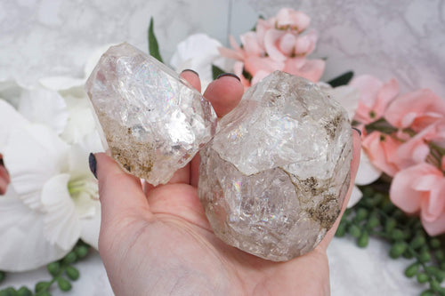 Herkimer Diamonds. Double terminated clear quartz Herkimer Diamond from New York with amazing rainbows inside. Perfect decoration for a desk or side table