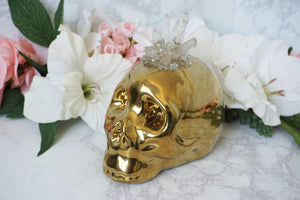 Contempo Crystals - Quartz Skull Piggy Bank. Side view - Image 2