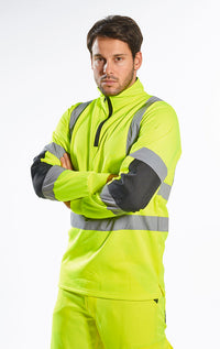 Portwest B308 Xenon Hi-Vis Polycotton Rugby Shirt with Reflective Tape ANSI