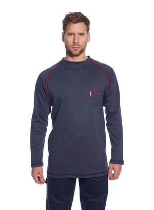 Portwest FR01 Mens Flame Resistant Bizflame Long Sleeved Crew Neck T Shirt ASTM