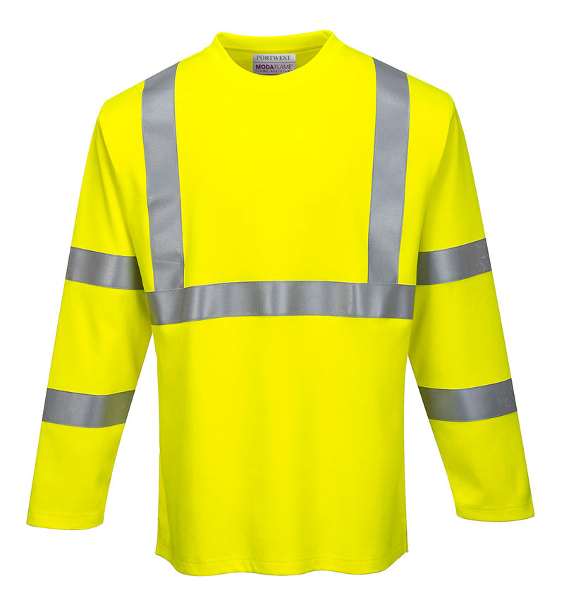 Portwest FR96 FR Long Sleeve Safety Work T Shirt in Reflective Hi-Vis ASTM ANSI