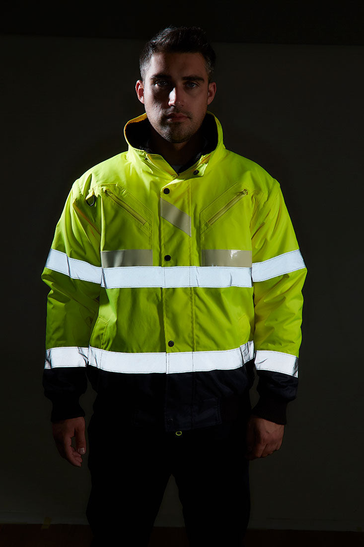 Portwest G465 Glowtex 3-in-1 Reflective Hi-Vis Safety Hooded Bomber Jacket ANSI