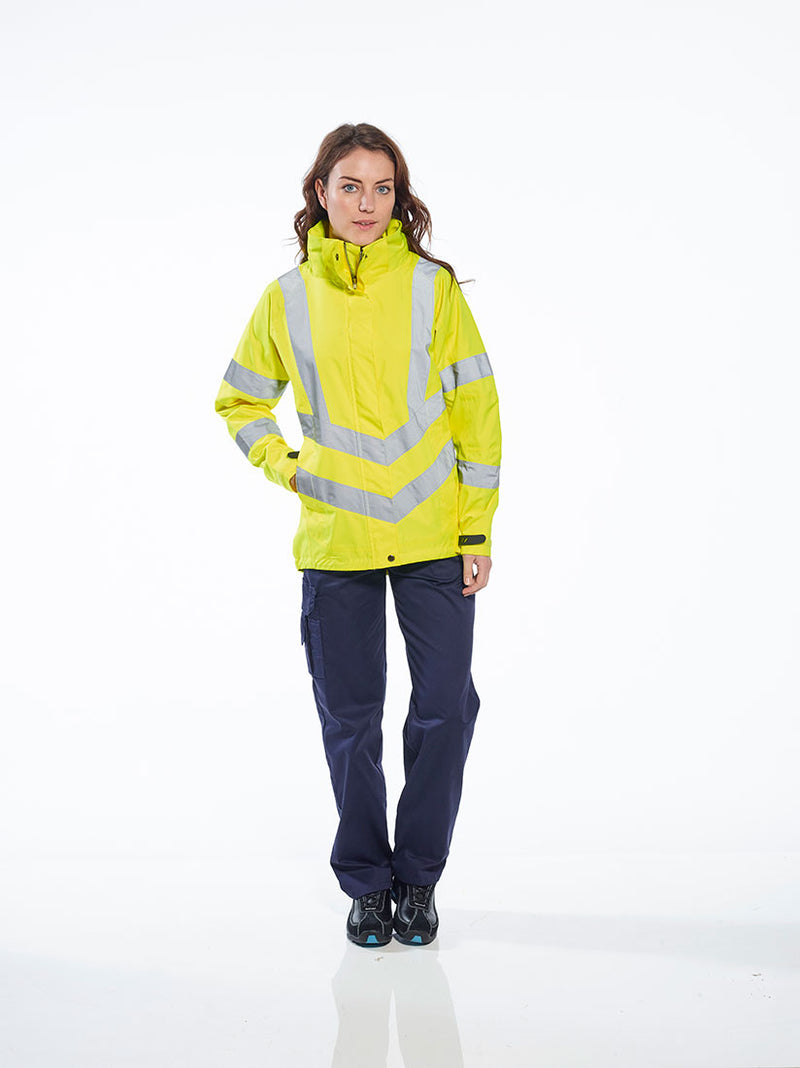 Portwest LW70 Ladies Breathable Safety Work Rain Jacket in Reflective HiVis ANSI