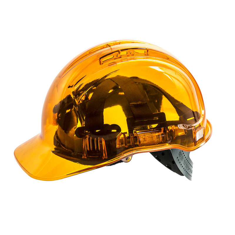 Portwest PV50 Peak View Protective Vented Hard Hat in Translucent Hi Vis ANSI