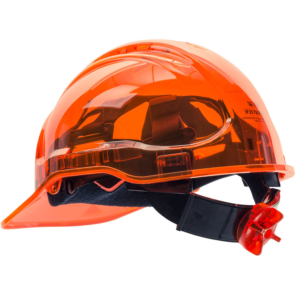 Portwest PV60 Peak View Vented Ratchet Work Hard Hat in Translucent Hi Vis ANSI