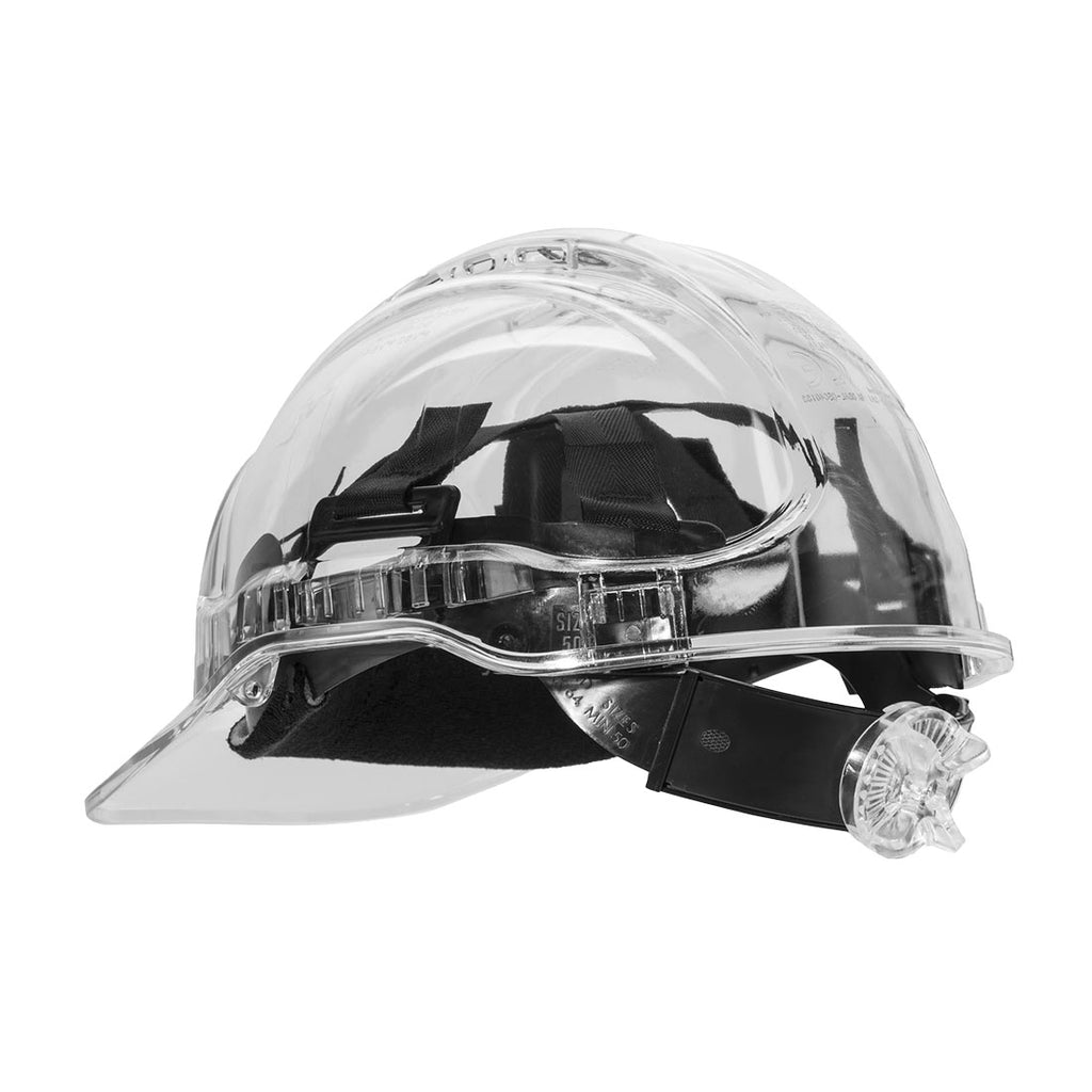 Portwest PV64 Peak View Protective Hi-Vis Translucent Ratchet Work Hard Hat ANSI