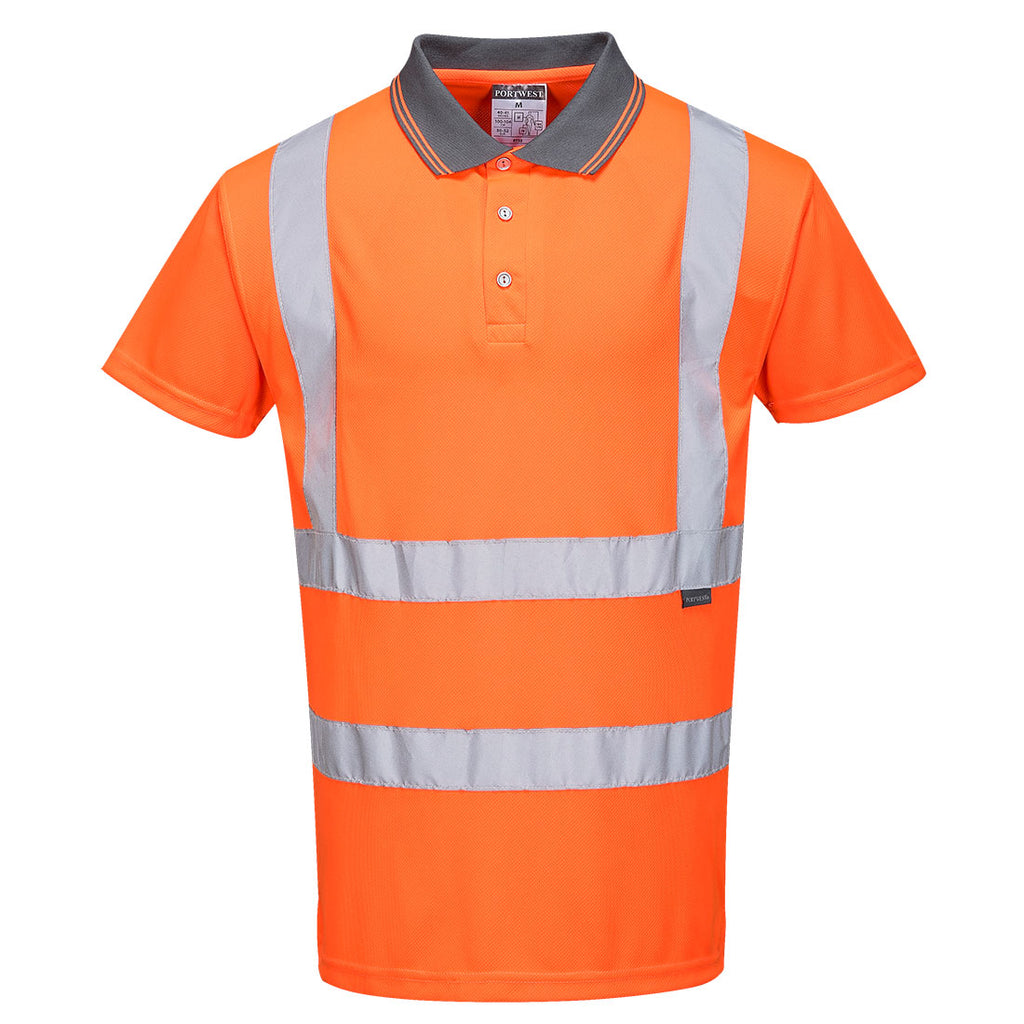 Portwest RT22 Hi-Vis Reflective Polyester Safety Work Short Sleeved Polo ANSI