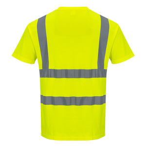 Portwest S170 Short Sleeve Cotton Safety T Shirt in Reflective Hi-Vis ANSI