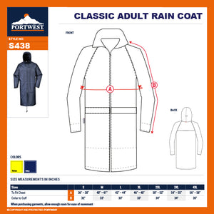 "Portwest S438 Classic Hooded Work Rain Coat with Long 47"" Waterproof Protection"
