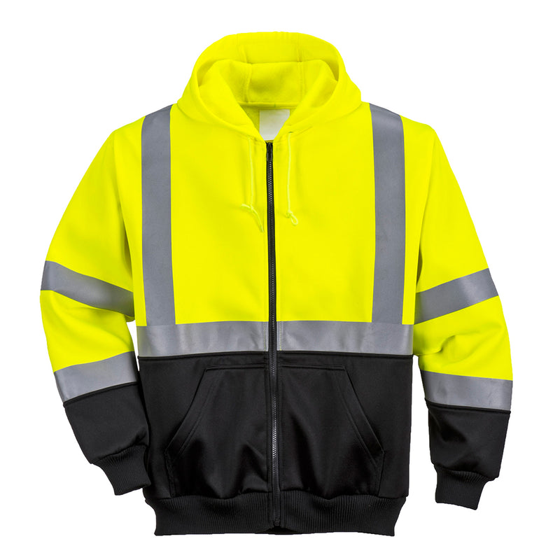 Portwest UB315 Reflective Hi-Vis Two-Tone Safety Work Zipped Hoodie ANSI