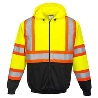 Portwest UB316 Kansas Hi-Vis Reflective Contrast Safety Zipped Hoodie ANSI
