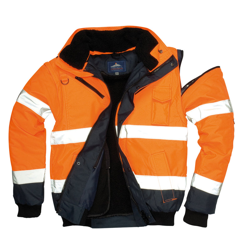 Portwest UC465 Hi-Vis Contrast Reflective Safety Work Fur Lined Bomber Jacket