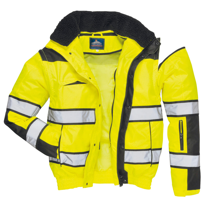 Portwest UC566 HiVis Classic Bomber Rain Jacket with Waterproof Taped Seams
