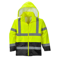 Portwest UH443 Classic Waterproof Rain Jacket in Reflective Contrast HiVis ANSI