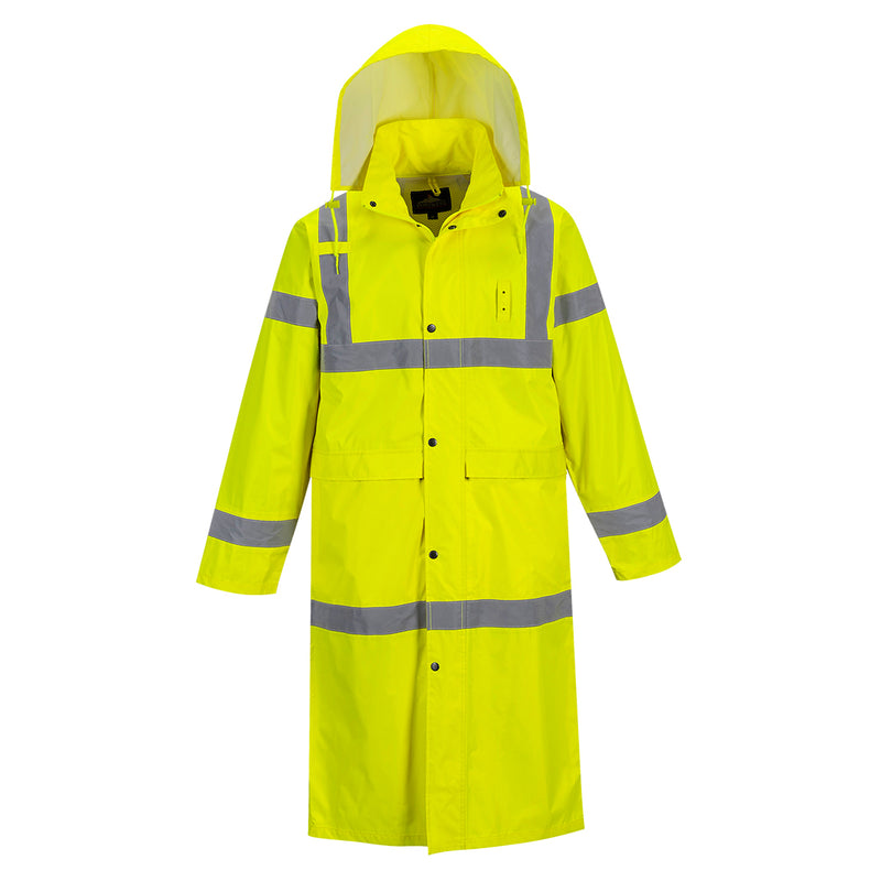"Portwest UH445 Hi-Vis Safety Raincoat with Long 48"" Waterproof Protection ANSI"