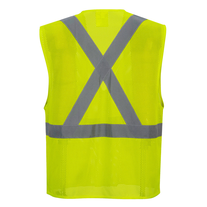 Portwest US370 Hi-Vis Reflective Cooling Mesh Vest with 6 Pockets and Zip Close