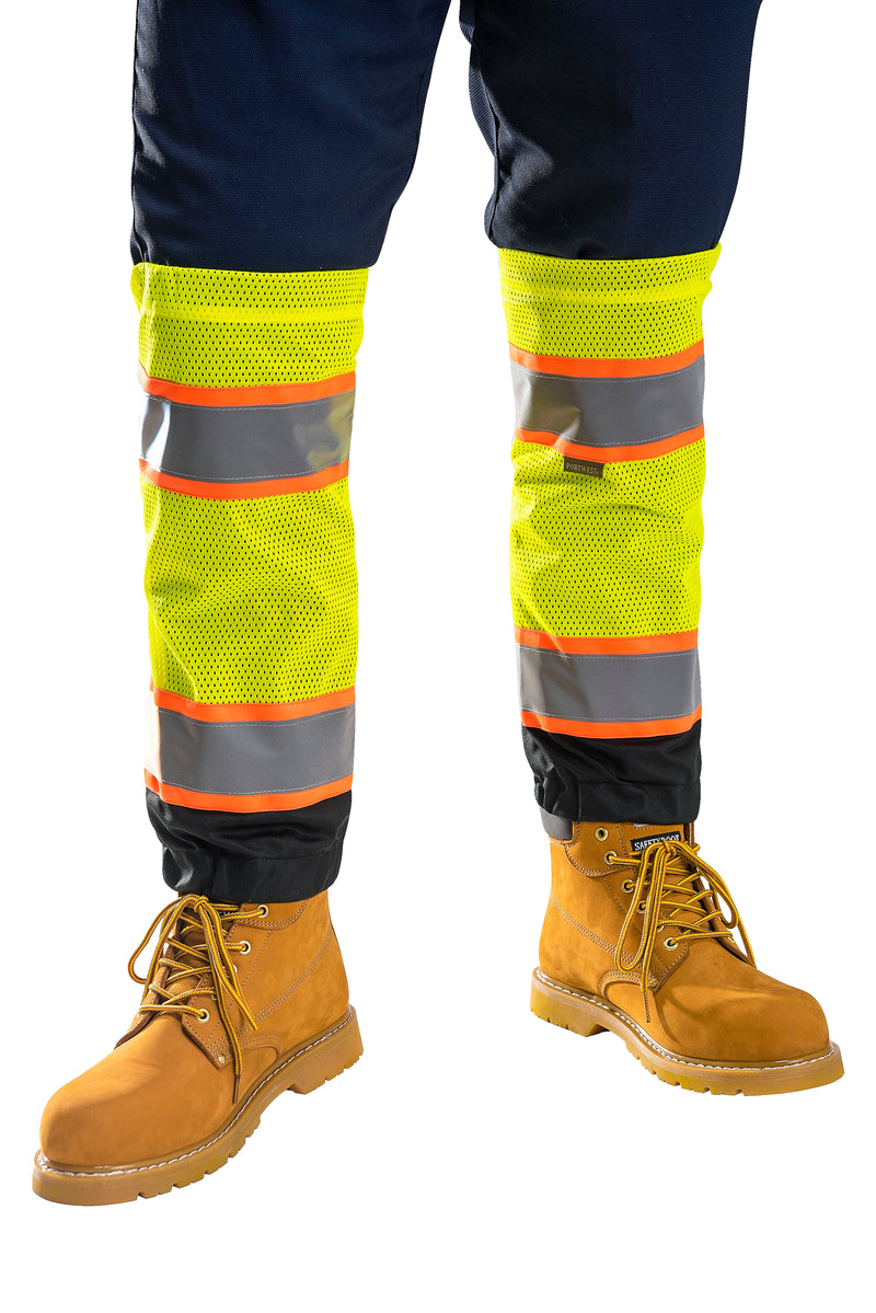 Portwest US389 HiVis TwoTone Reflective Safety Work Adjustable Mesh Gaiters ANSI