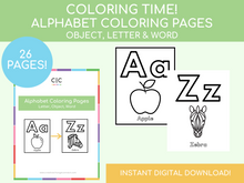 Load image into Gallery viewer, Alphabet Coloring Pages (includes pictures & words)