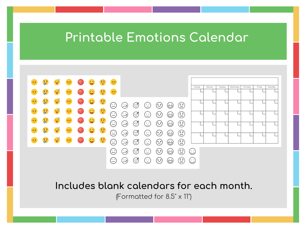 Printable Emotions Calendar (Color & Black and White) - Digital Download