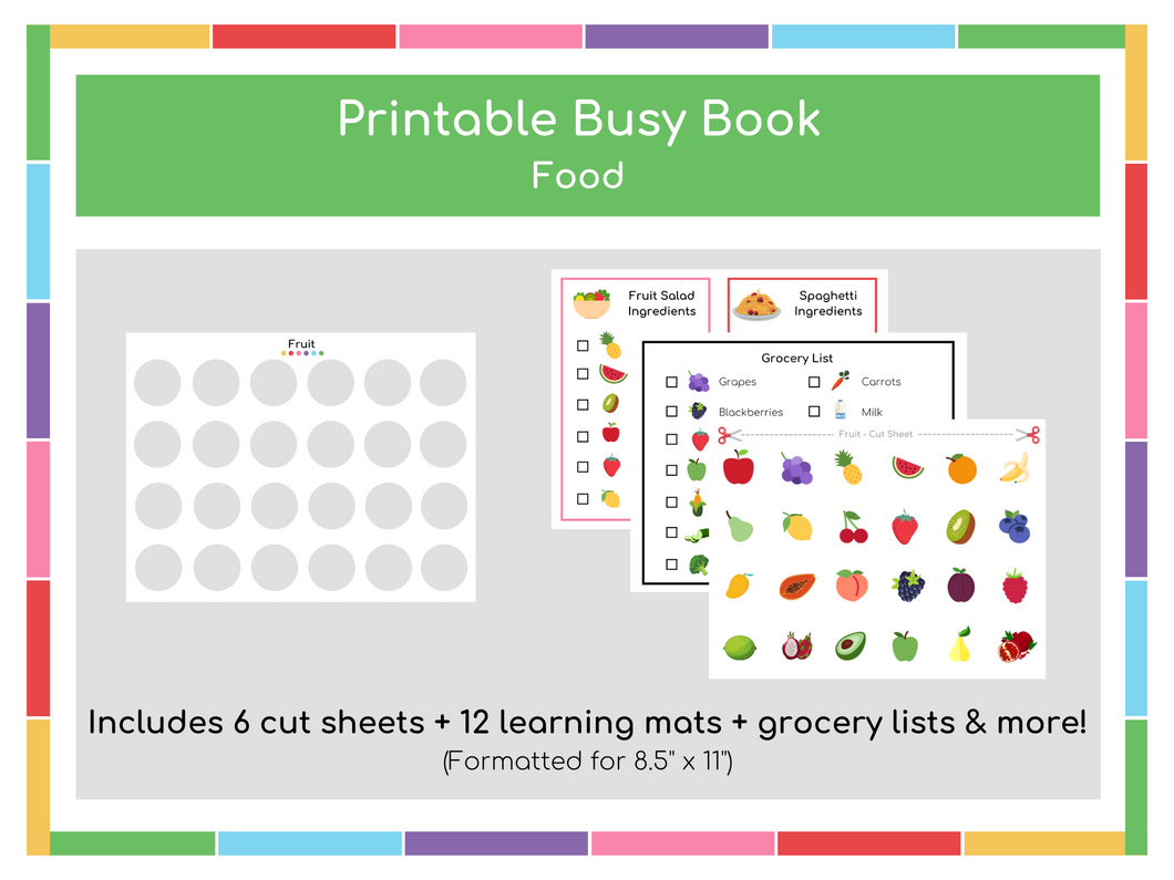 Food Busy Book (includes grocery lists & ingredient lists) - Digital Download